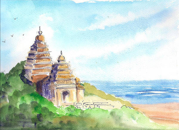 Wall Art - Painting - Shore Temple by Asha Sudhaker Shenoy