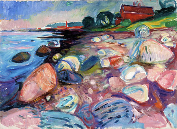 Wall Art - Painting - Shore With Red House - Digital Remastered Edition by Edvard Munch