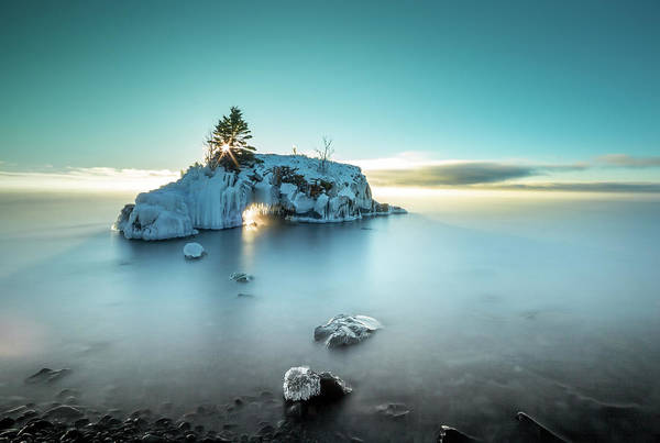 Photograph - Shoreline Light Show / Lake Superior, Minnesota  by Nicholas Parker