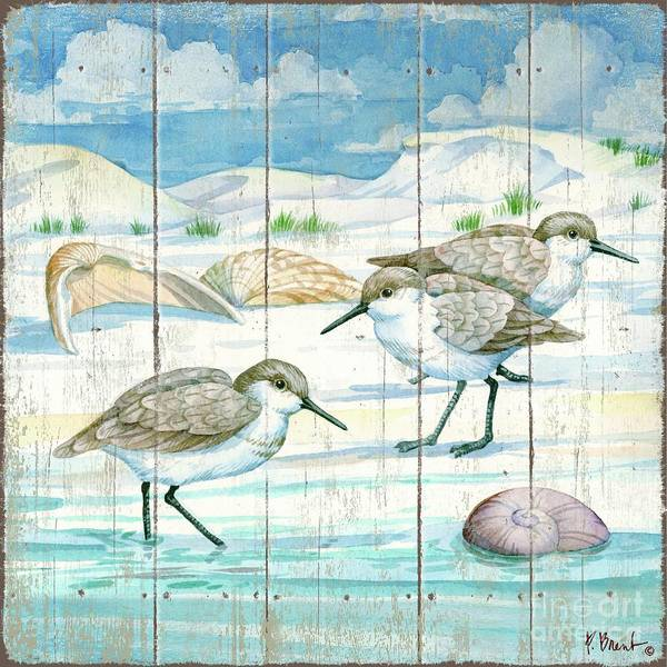 Wall Art - Painting - Shoreline Sandpipers I by Paul Brent