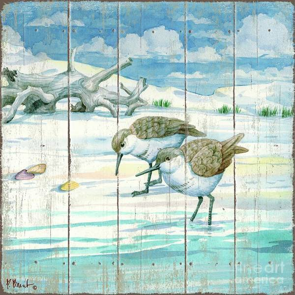 Driftwood Painting - Shoreline Sandpipers II by Paul Brent