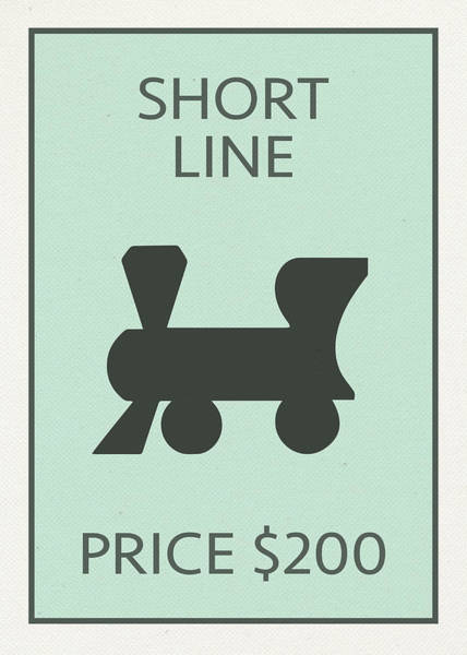Wall Art - Mixed Media - Short Line Railroad Vintage Retro Monopoly Board Game Card by Design Turnpike
