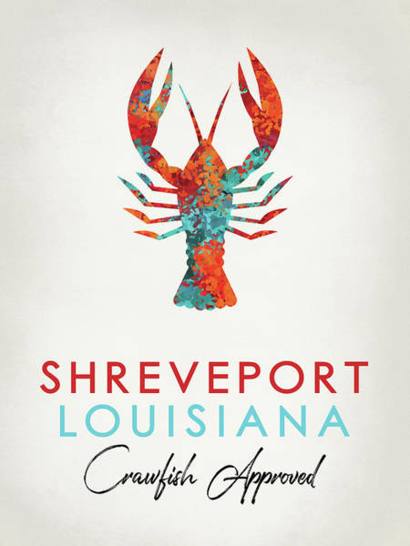 Louisiana Digital Art - Shreveport Louisiana Crawfish Bright by Flo Karp