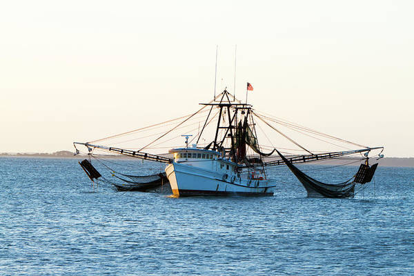 Fishing Boat Photograph - Shrimp Fishing Boat With Nets Out by Tshortell
