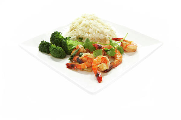 Wall Art - Photograph - Shrimp Stir Fry On Plate On White by Thomas Northcut