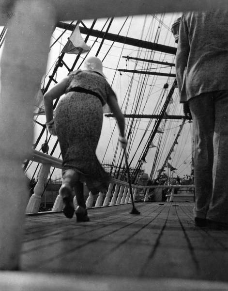 Boat Deck Photograph - Shuffleboard On Ships Deck by The New York Historical Society