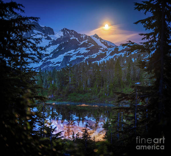 Wall Art - Photograph - Shuksan Picture Lake Moonrise by Mike Reid