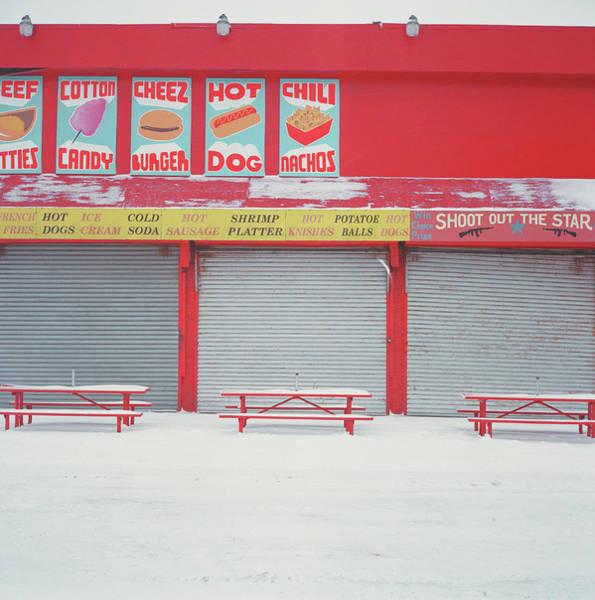 Wall Art - Photograph - Shuttered Food Stands At Amusement Park by Muntz