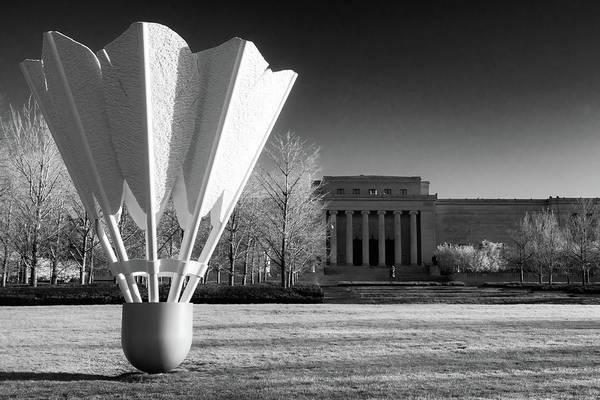 Photograph - Shuttlecock Sculpture And Nelson Atkins Museum In Infrared - Kansas City Missouri by Gregory Ballos