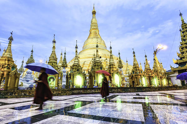 Myanmar Wall Art - Photograph - Shwedagon Pagoda In Yangon, Myanmar At by Richard Yoshida