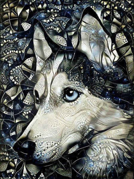 Digital Art - Siberian Husky Dog Abstract Art by Peggy Collins