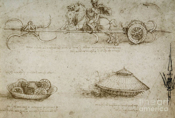 Wall Art - Drawing - Sickle Tank by Leonardo Da Vinci