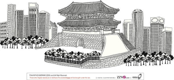 Lifestyles Digital Art - Side View Of Pagoda And Trees by Eastnine Inc.