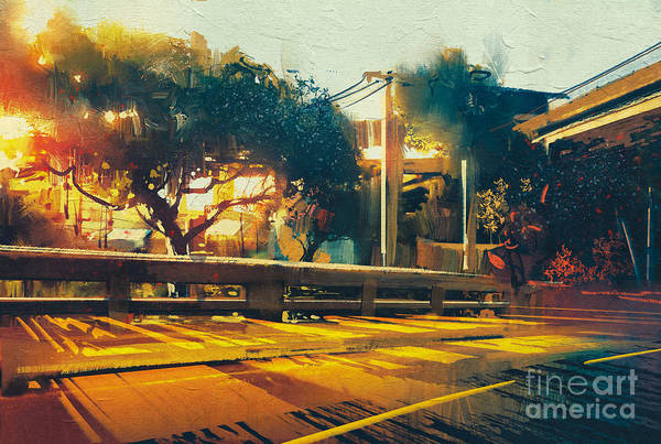 Wall Art - Digital Art - Side View On Empty Street Landscape At by Tithi Luadthong