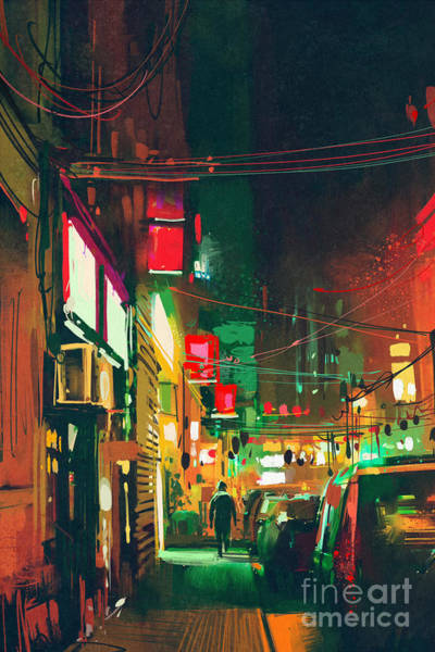 Scenery Digital Art - Sidewalk In The City At Night With by Tithi Luadthong