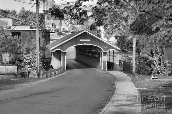 Photograph - Sidewalk To The Thompson Covered Bridge Black And White by Adam Jewell