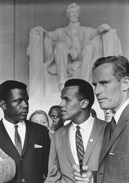 Wall Art - Photograph - Sidney Poitier, Harry Belafonte, And Charleton Heston - March On by N A R A