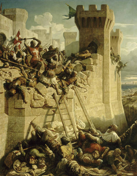 Wall Art - Painting - Siege Of Acre, 1291 by Dominique Papety