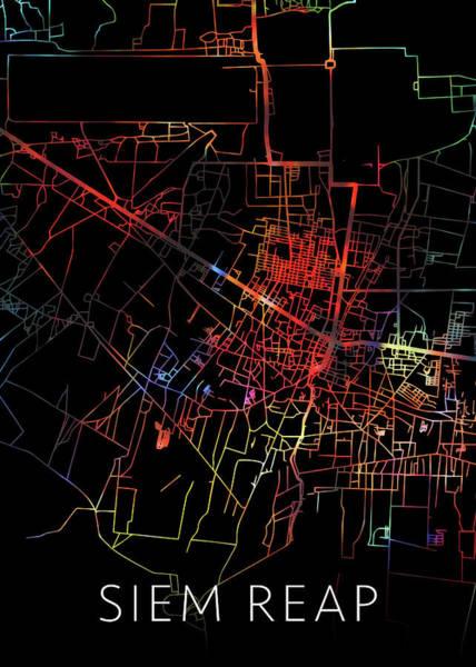 Wall Art - Mixed Media - Siem Reap Cambodia Watercolor City Street Map Dark Mode by Design Turnpike
