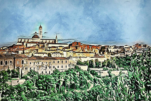Painting - Siena, Cityscape - 01  by Andrea Mazzocchetti