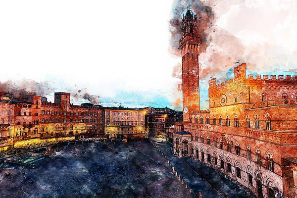Painting - Siena, Piazza Del Campo - 05 by Andrea Mazzocchetti