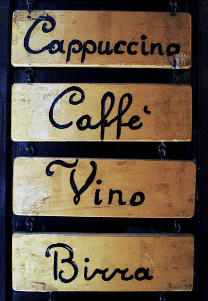 Italian Wine Photograph - Sign Outside A Bar In Venice by Gary Yeowell