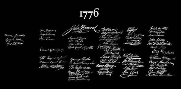 Wall Art - Digital Art - Signatories To The Declaration Of Independence Dark T-shirt 1776 by Daniel Hagerman