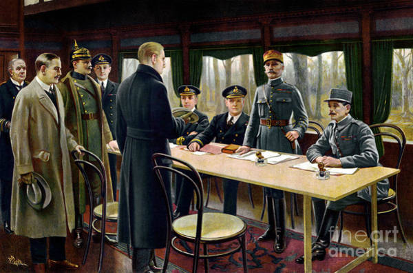 Wall Art - Painting - Signing Of The Armistice, 11th November 1918 by Maurice Pillard Verneuil