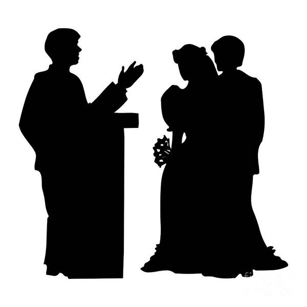 Digital Art - Silhouette Of A Couple Getting Married by Rose Santuci-Sofranko