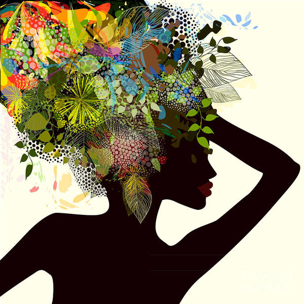 Wall Art - Digital Art - Silhouette Of A Girl With Flowers by Ihnatovich Maryia