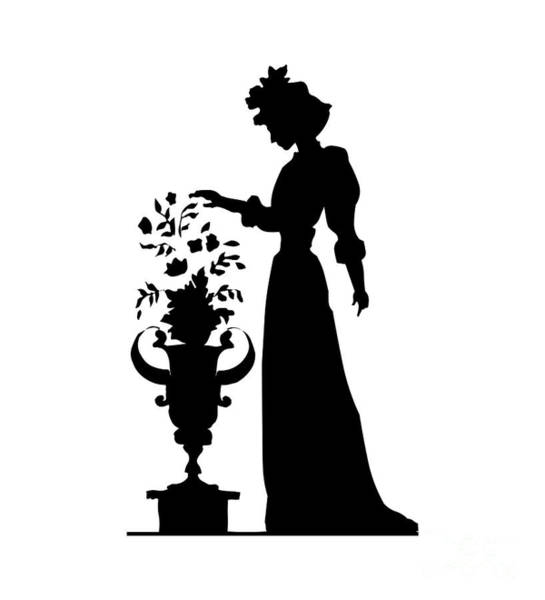 Digital Art - Silhouette Of A Victorian Woman And Flowers by Rose Santuci-Sofranko