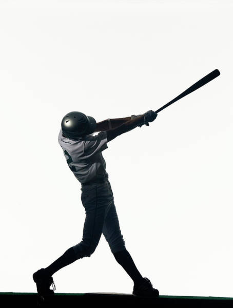 Bat Man Photograph - Silhouette Of Baseball Batter Swinging by Pm Images