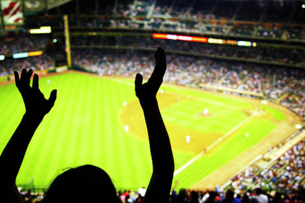 People Watching Photograph - Silhouette Of Baseball Fan Waving Hands by Thomas Northcut
