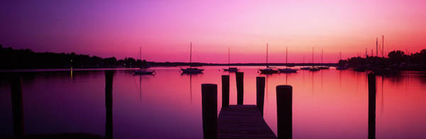 Wall Art - Photograph - Silhouette Of Boats In A Lake by Panoramic Images