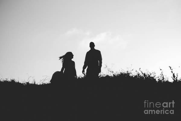 Silhouette Of Couple In Love With Wedding Couple On Top Of A Hil Art Print