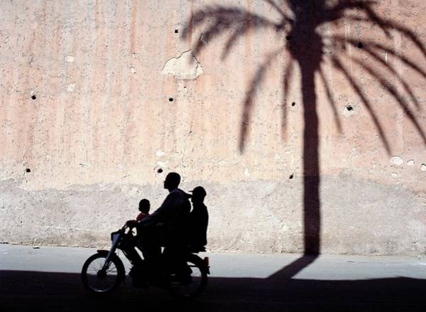 Silhouette Of Father And Two Sons On Art Print