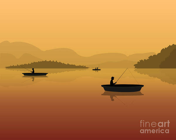 Wall Art - Digital Art - Silhouette Of Fishermen In A Boat With by S veresk