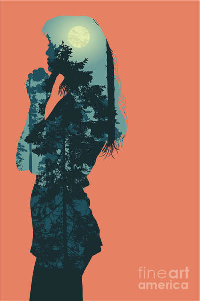 Wall Art - Digital Art - Silhouette Of Girl And Night Forest by Jumpingsack