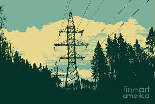 Current Wall Art - Digital Art - Silhouette Of High-voltage Tower by Jumpingsack