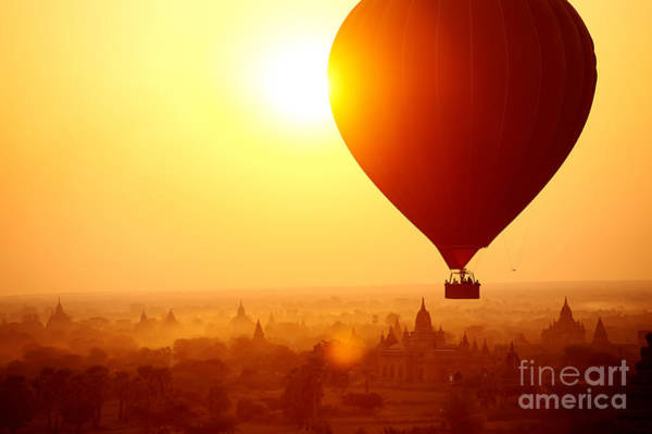 Bagan Photograph - Silhouette Of Hot Air Balloon Over by Daxiao Productions
