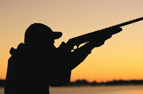 Rifle Photograph - Silhouette Of Hunter And Gun by J&l Images