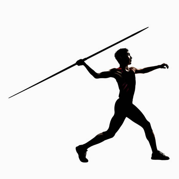 Silhouette Of Male Athlete Throwing Art Print