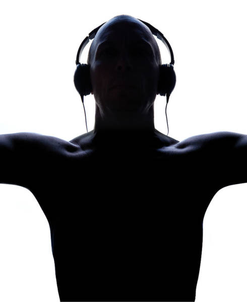 Shaved Head Photograph - Silhouette Of Male With Headphones by Maciej Toporowicz, Nyc