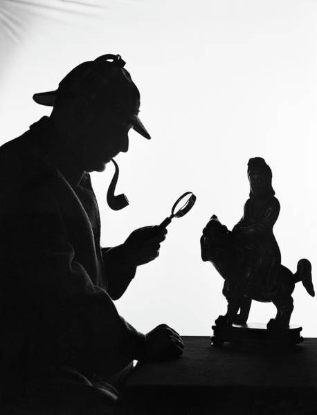 Wall Art - Photograph - Silhouette Of Man Wearing Deerstalker by H. Armstrong Roberts