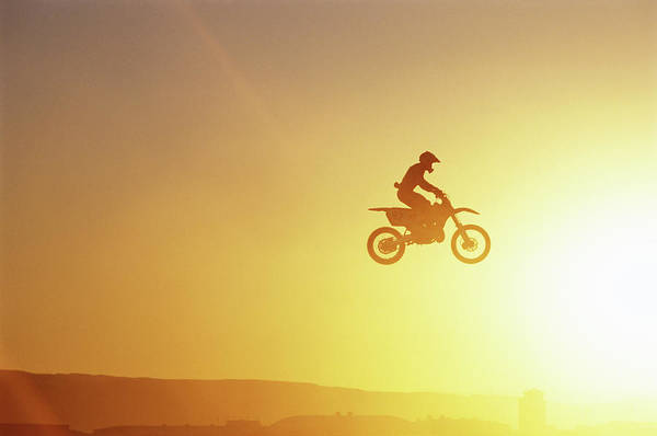 Motocross Photograph - Silhouette Of Motocross Race In Mid by John P Kelly