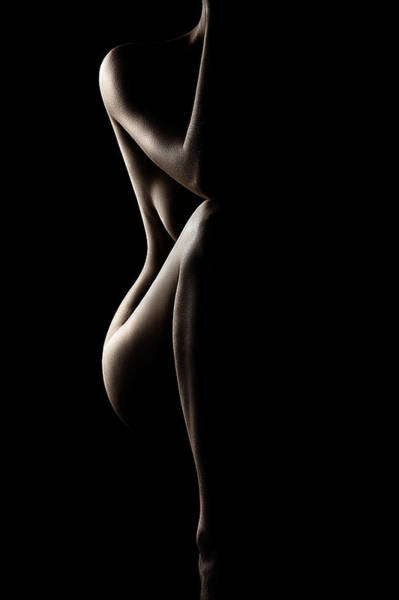 Silhouette Of Nude Woman Art Print
