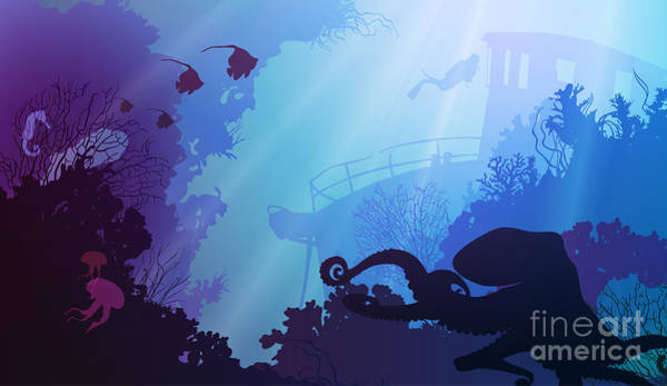 Wall Art - Digital Art - Silhouette Of Underwater Marine Life by Eva mask