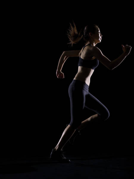 Practice Photograph - Silhouette Of Woman Running by Kokouu