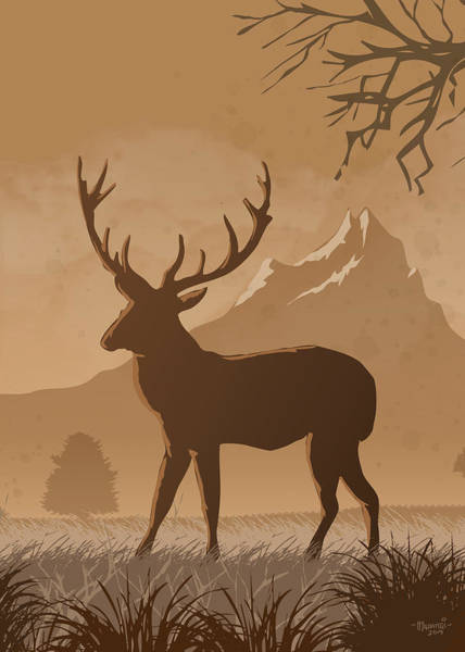 Wall Art - Painting - Silhouette Reindeer by Anthony Mwangi