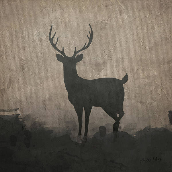 Deer Mixed Media - Silhouette Stag I by Amanda Lakey